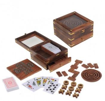 Набор игр 6 в 1: лабиринт, домино, 2 колоды карт, солитер, крестики-нолики