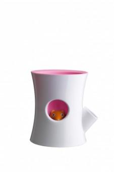 Кашпо самополивающееся Log&Squirrel белое/розовое