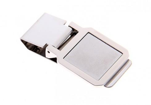 Зажим для денег метал матовое серебро квадрат