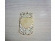 Медальон со стразами сердце 29*50 мм (золотистый)