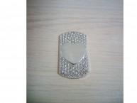 Медальон со стразами сердце среднее (серебристый)