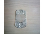 Медальон со стразами сердце 29*50 мм (серебристый)