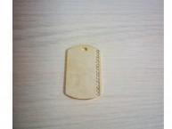 Жетон прямоугольный с вертикальной полосой страз 25*39 мм (золотистый)