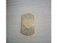 Медальон со стразами сердце среднее (золотистый)