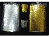 Набор 4 в 1 (фляжка+2 рюмки)Золото/Серебро кожзам