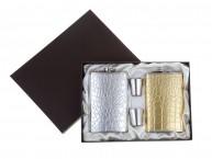 Набор 4в1 (2 фляжки 10oz+2 рюмки) золото/серебро