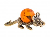 Кошельковая мышь Ушастик (латунь и янтарь)