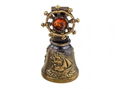 Колокольчик Штурвал (латунь и янтарь)