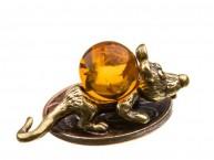 Кошельковая мышь Зубастик (латунь и янтарь)