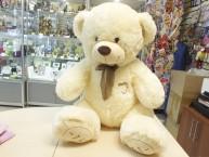 Медведь бежевый с бантом 90 см