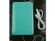 Портативное зарядное устройство 8000mah,2 выхода USB 1A, 2.1А,голубой